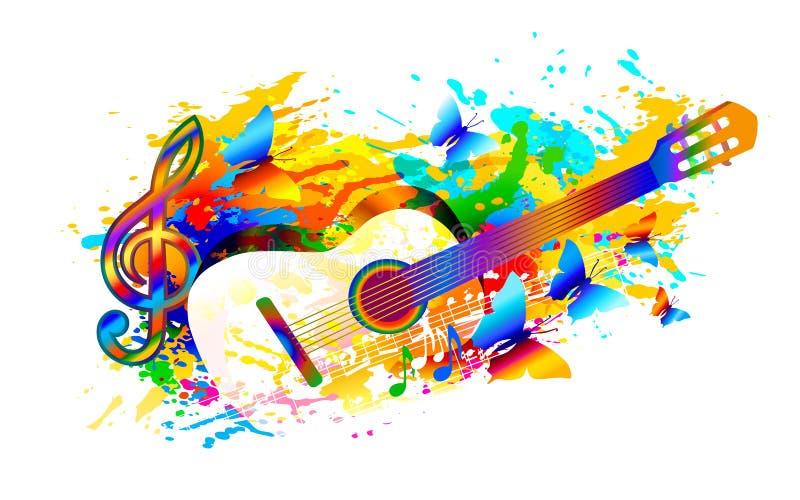 Musiksommer-Festivalhintergrund mit Gitarre, Musikanmerkungen und Schmetterling lizenzfreie abbildung