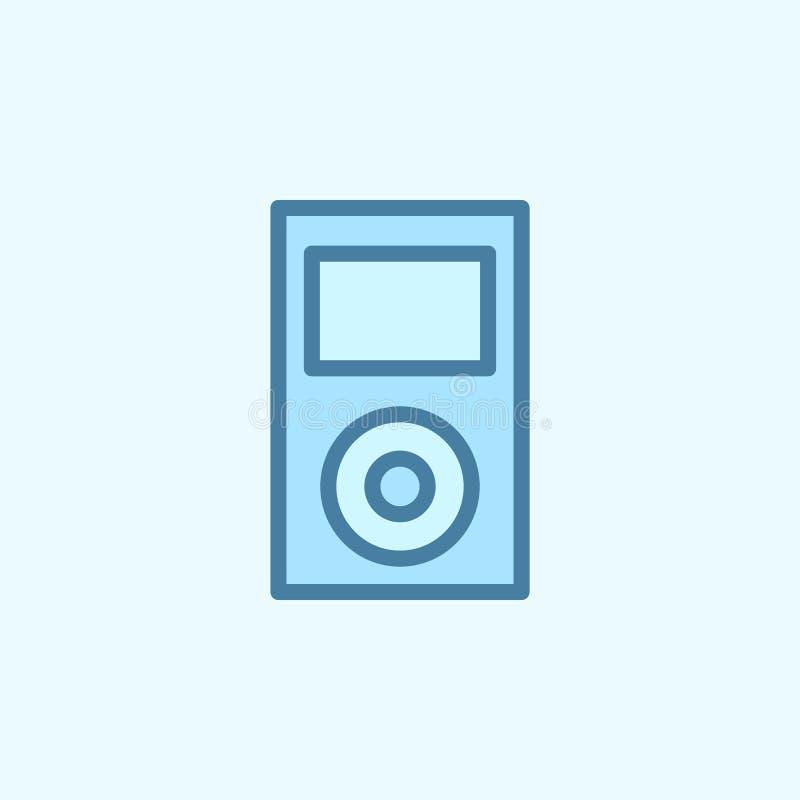 Musikspieler-Feldentwurfsikone Element der 2 Farbeinfachen Ikone Dünne Linie Ikone für Websitedesign und Entwicklung, APP stock abbildung