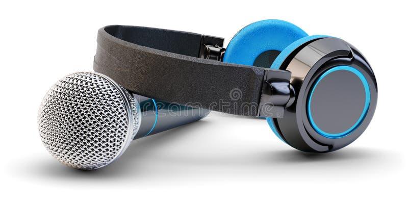 Musikstudio-Audioaufnahme und Livestromsendungskonzept stockbilder