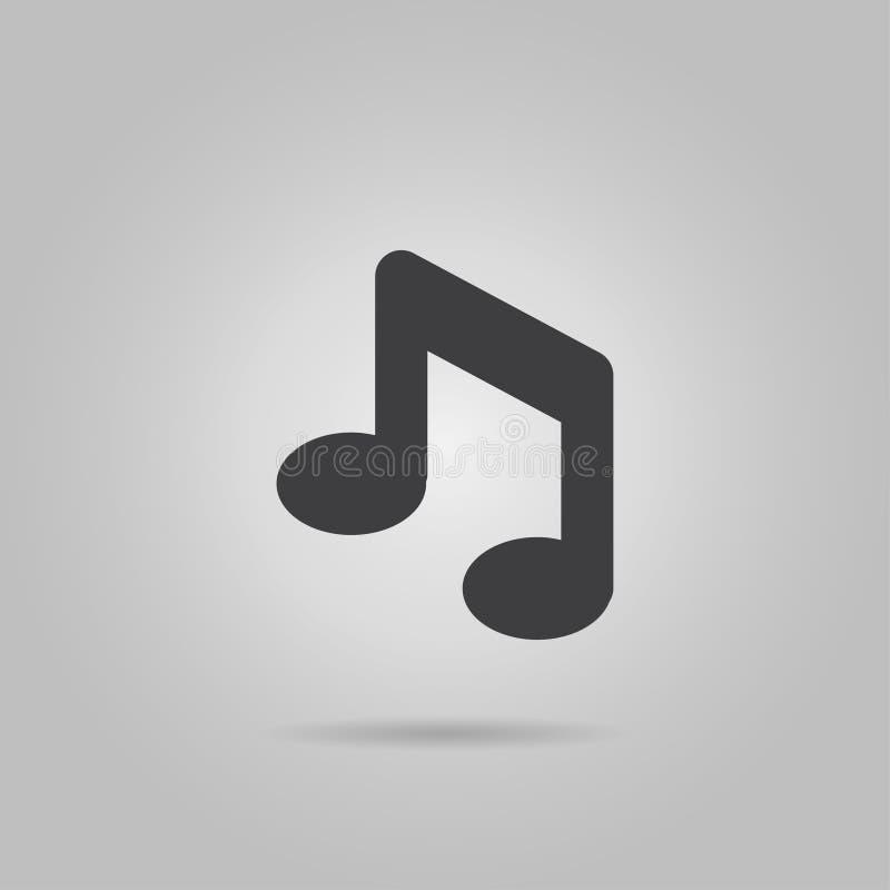 Musiksymbol i moderiktig plan stil som isoleras på grå bakgrund Anmärkningssymbol för din webbplatsdesign, logo, app, UI Vektoril royaltyfri illustrationer