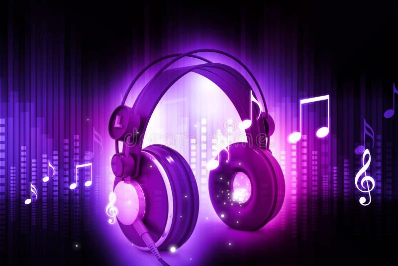 Musiksymboler med headphonen royaltyfri illustrationer