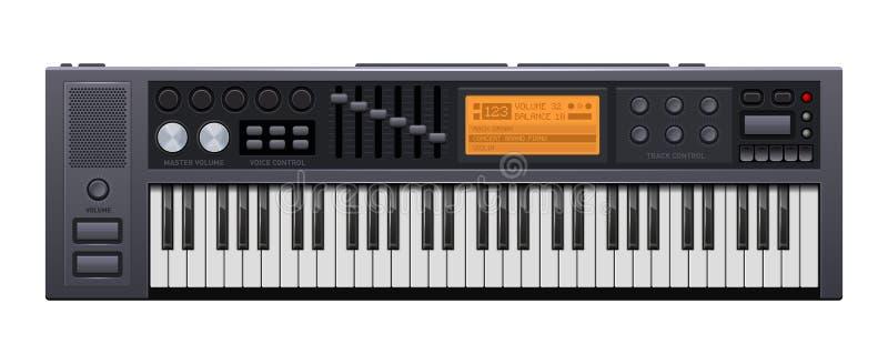 Musiksynthesizer Realistisches Art-Digitalpiano Vektor lizenzfreie abbildung