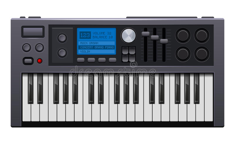 Musiksynthesizer Realistisches Art-Digitalpiano Vektor vektor abbildung