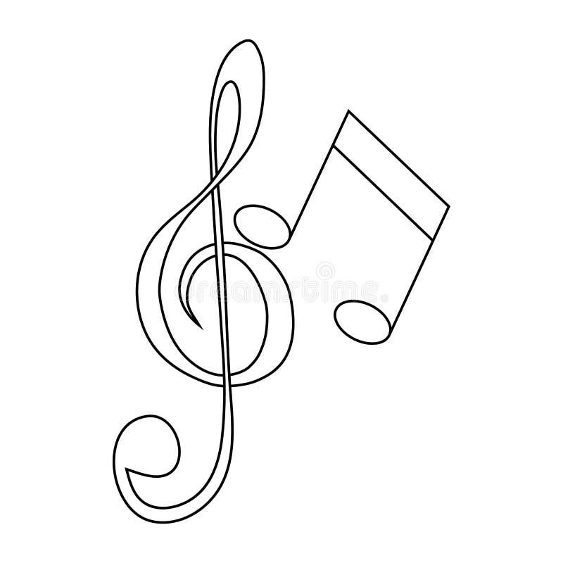Musiktangent och anmärkningssymbol, översiktsstil royaltyfri illustrationer