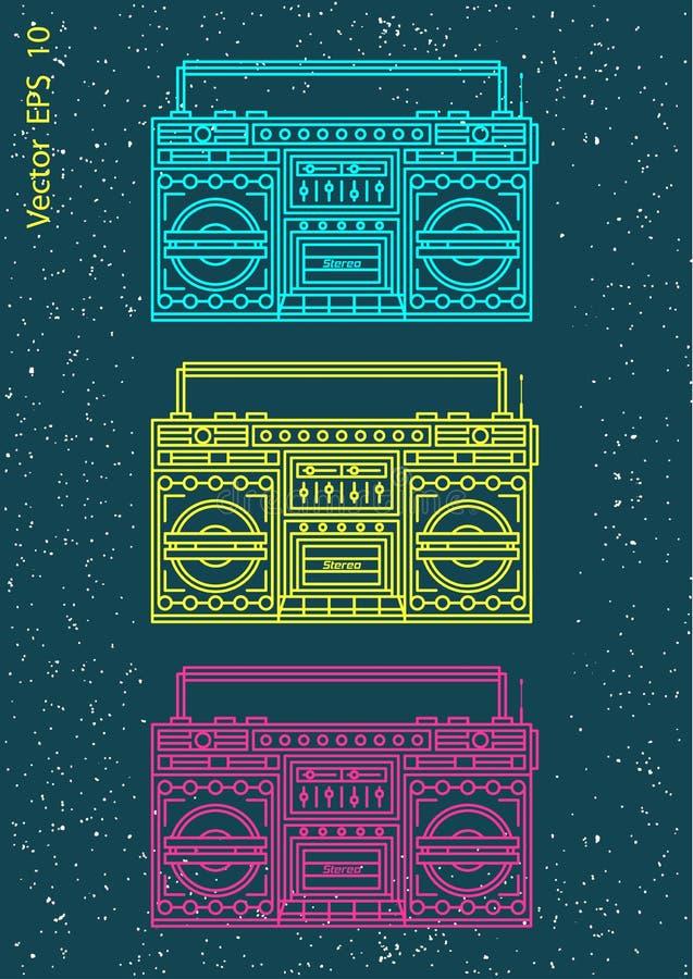 Musiktechnologie Retro- Audiosatz stock abbildung