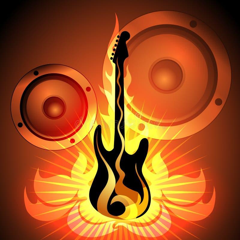 Musiktema med den flammande gitarren stock illustrationer