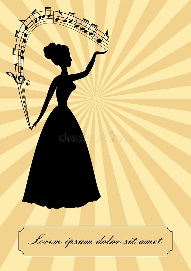 Musiktema, tappningdesign royaltyfri illustrationer