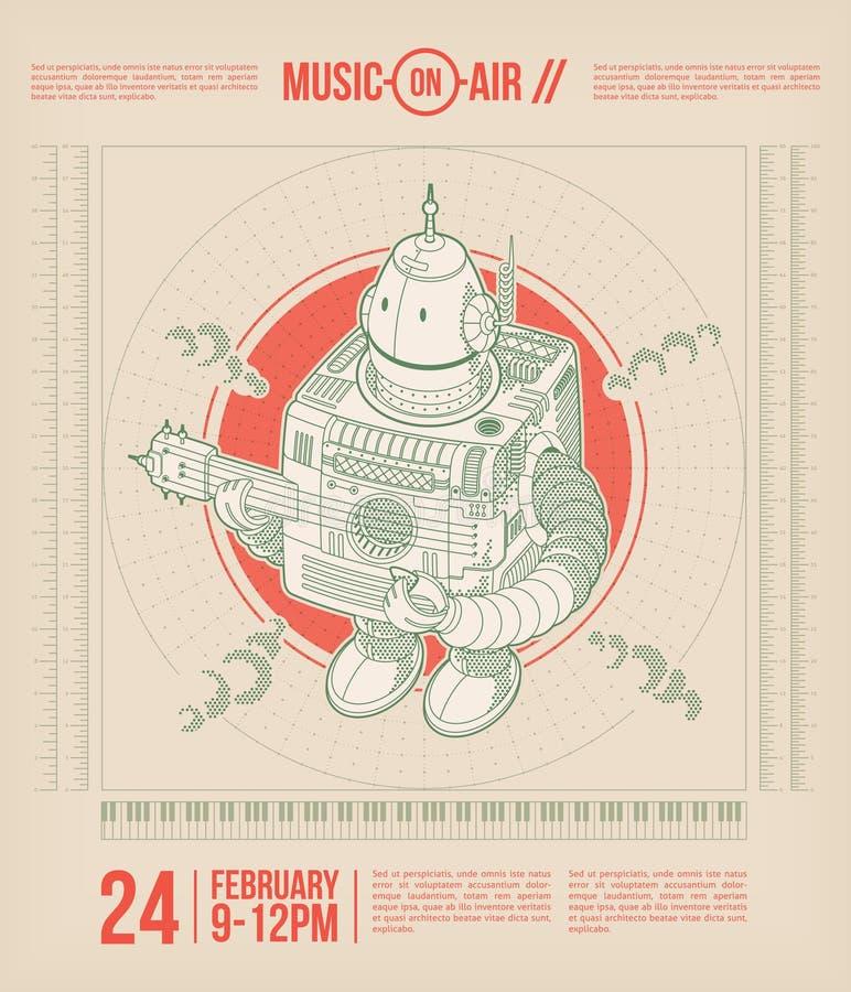 Musiktemaaffisch stock illustrationer
