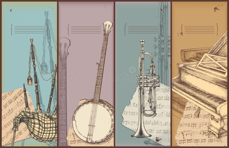 Musikthemafahnen - Instrumentzeichnen stock abbildung