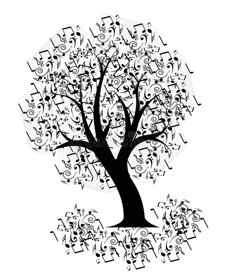 Musikträd royaltyfri illustrationer