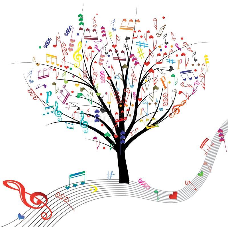 Musiktree. stock illustrationer