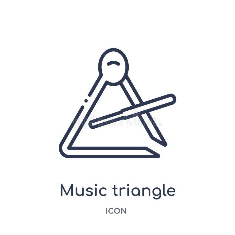 Musiktriangelsymbol från musiköversiktssamling Tunn linje musiktriangelsymbol som isoleras på vit bakgrund royaltyfri illustrationer