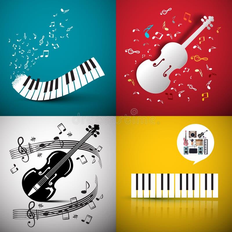 Musikvektorbakgrunder med fiolen och tangentbordet stock illustrationer