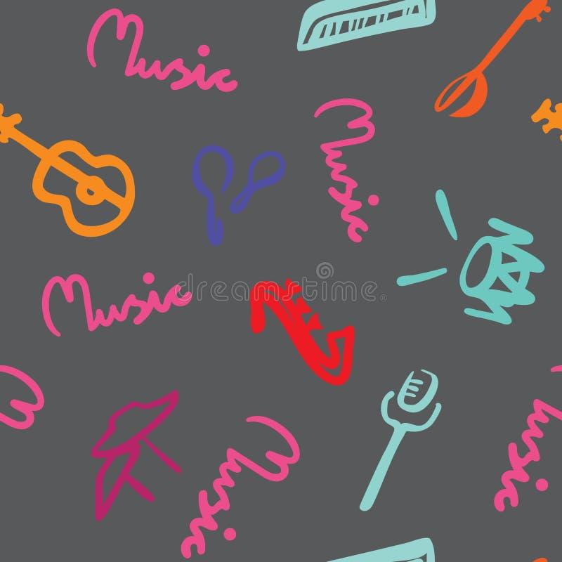 Musikzitat und Musikinstrumente auf nahtlosem Vektormuster des grauen Hintergrundes lizenzfreie abbildung
