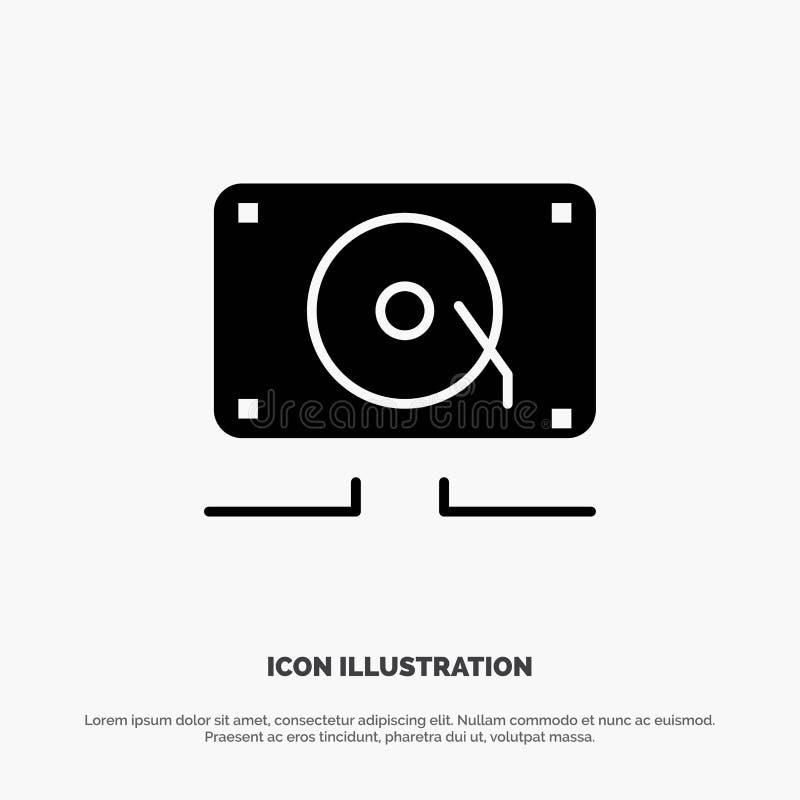 Musique, audio, haut-parleur, icône noire solide bruyante de Glyph illustration stock