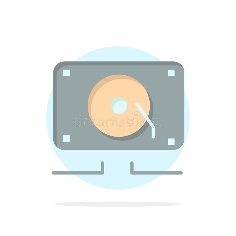 Musique, audio, haut-parleur, icône plate de couleur de fond abstrait bruyant de cercle illustration stock