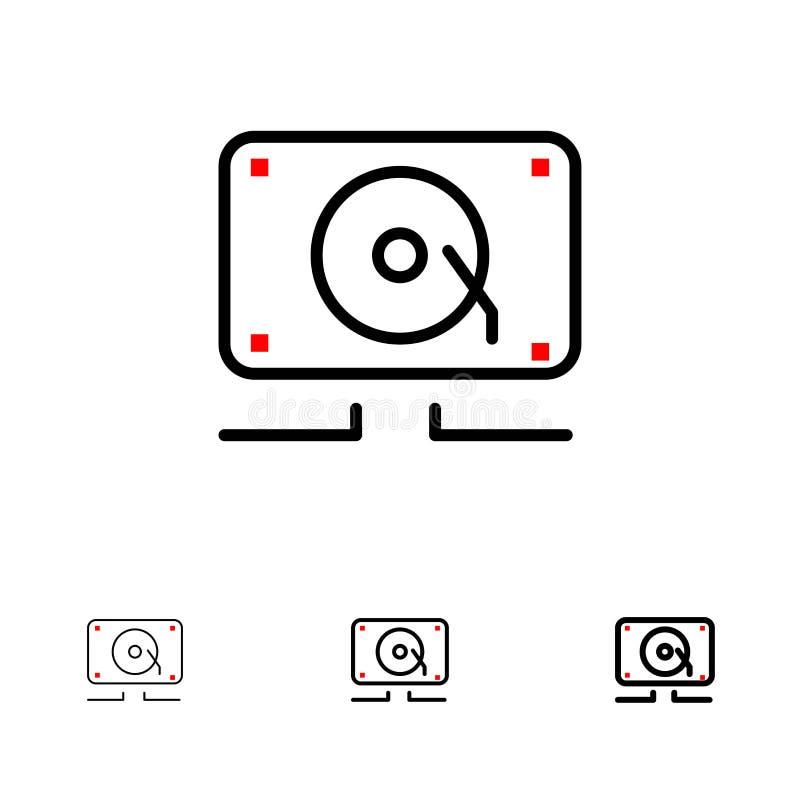 Musique, audio, haut-parleur, ligne noire audacieuse et mince bruyante ensemble d'icône illustration de vecteur
