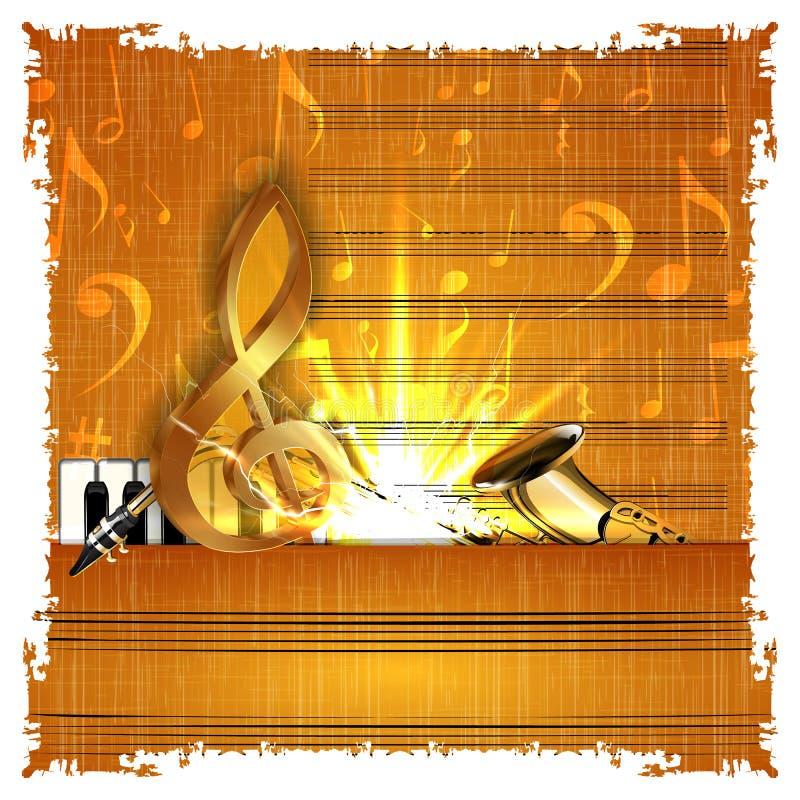 Musique avec un piano et un saxophone de clef triple d'or illustration de vecteur