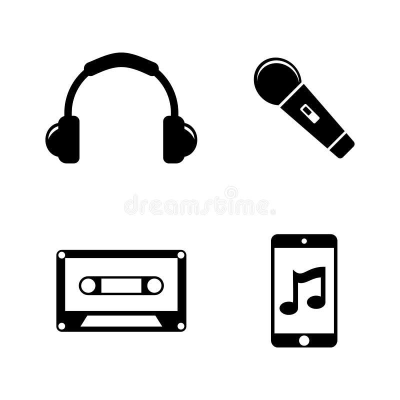 Musique, bruit, audio Icônes relatives simples de vecteur illustration stock