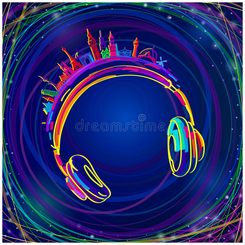 Musique colorée d'écouteurs illustration libre de droits