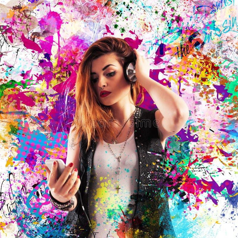 Musique colorée d'effet photo libre de droits