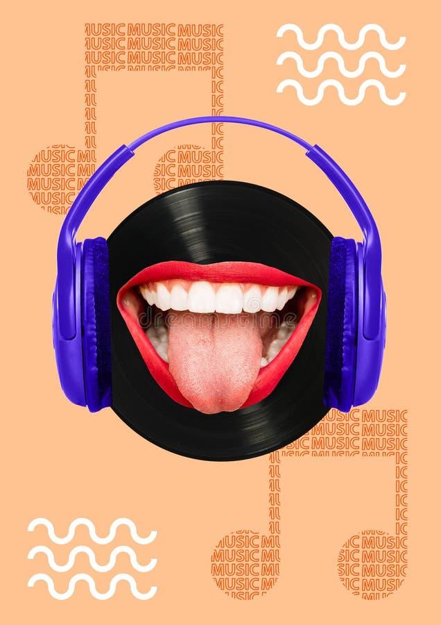 Musique - comment elle goûte Conception moderne Collage d'art contemporain illustration de vecteur