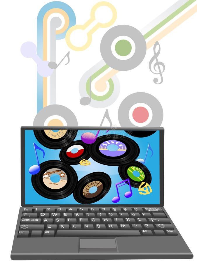 Musique d'anciens de téléchargement à l'ordinateur portable illustration libre de droits
