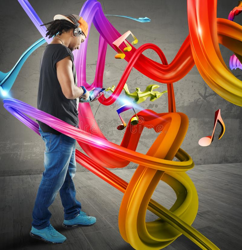 Musique dans les vagues colorées image stock