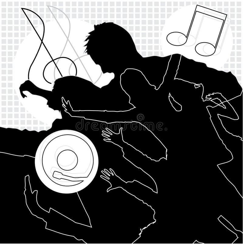 Musique, danse et amusement illustration de vecteur