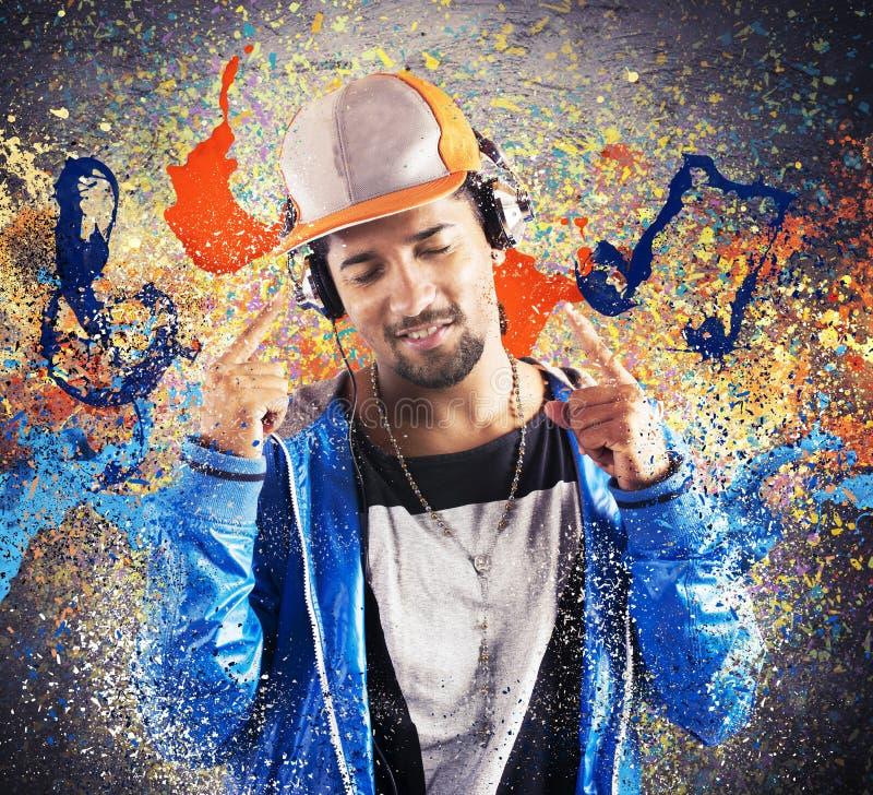 Musique de écoute de hiphop de garçon photos libres de droits