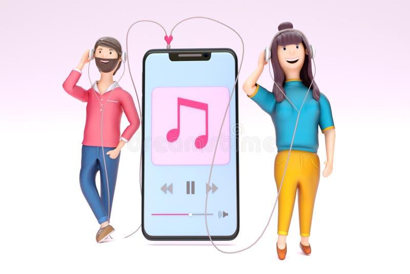 Musique de écoute de jeunes couples ensemble par le smartphone illustration stock