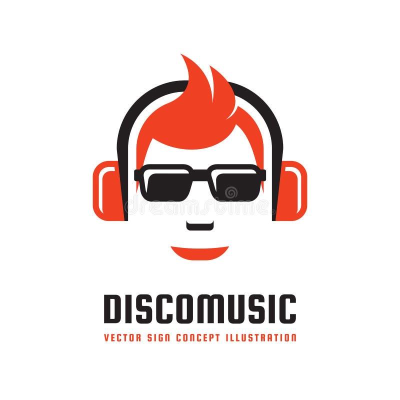 Musique de disco - dirigez l'illustration de concept de calibre de logo dans la conception plate de style Signe mp3 audio Icône s illustration stock