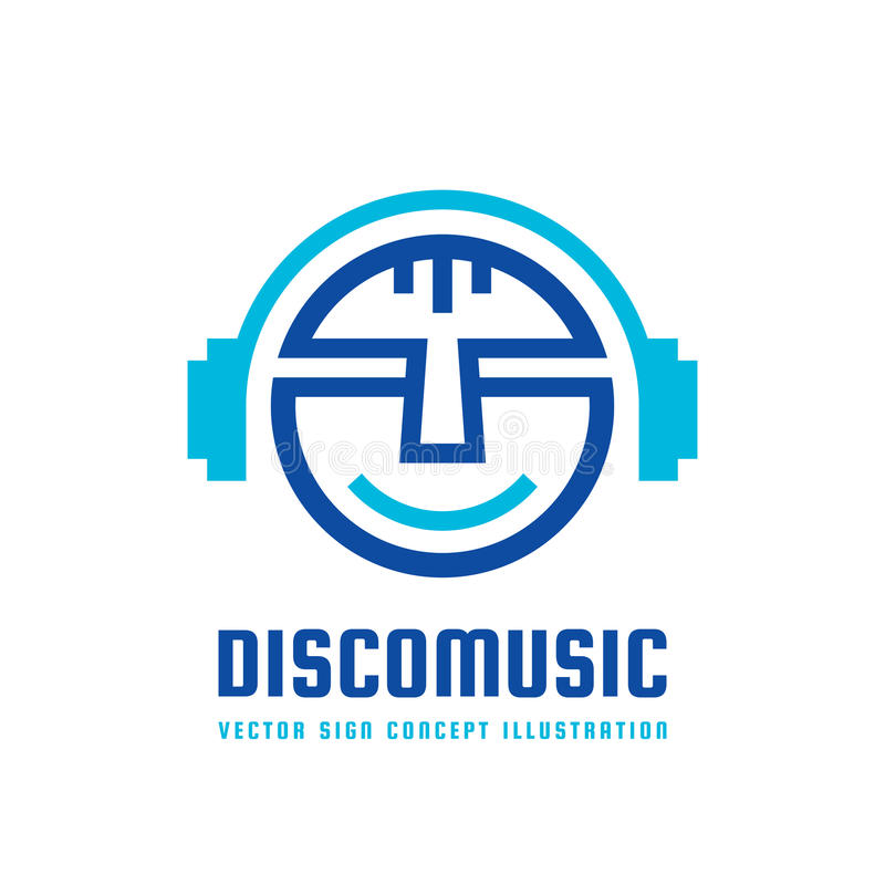Musique de disco - dirigez l'illustration de concept de logo dans la conception plate de style Signe mp3 audio Icône saine modern illustration stock