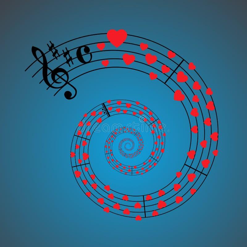 Musique de feuille de coeurs illustration de vecteur