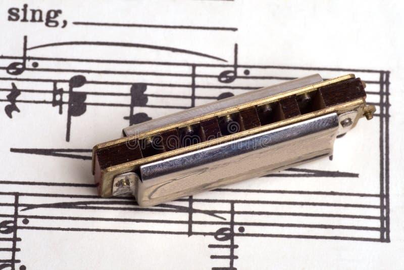 Musique de feuille de cru avec un harmonica de cru en fonction à photos libres de droits