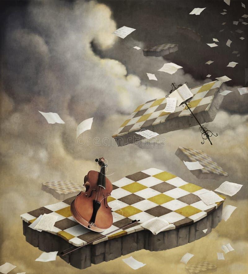Musique de fond avec la musique de violon et de feuille. illustration de vecteur