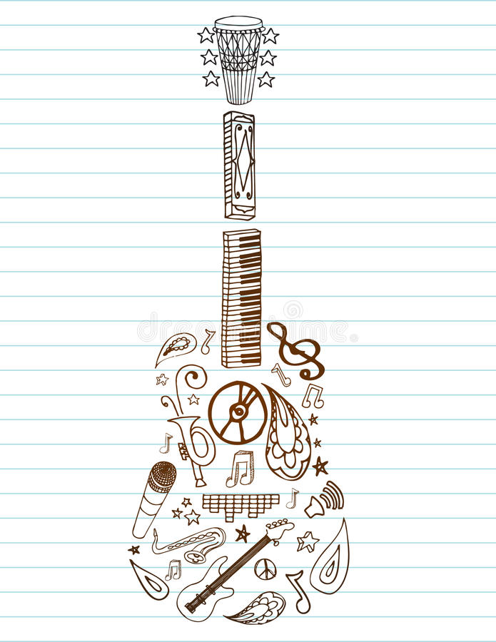 Musique de guitare illustration de vecteur