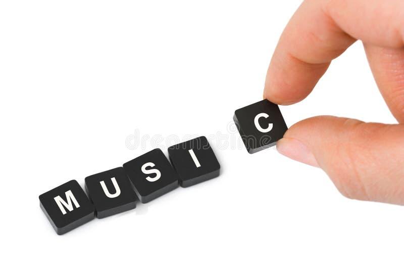 Musique de main et de mot photo stock