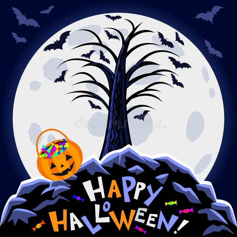 Musique de nuit Arbre effrayant, grande lune et potiron de Halloween illustration de vecteur