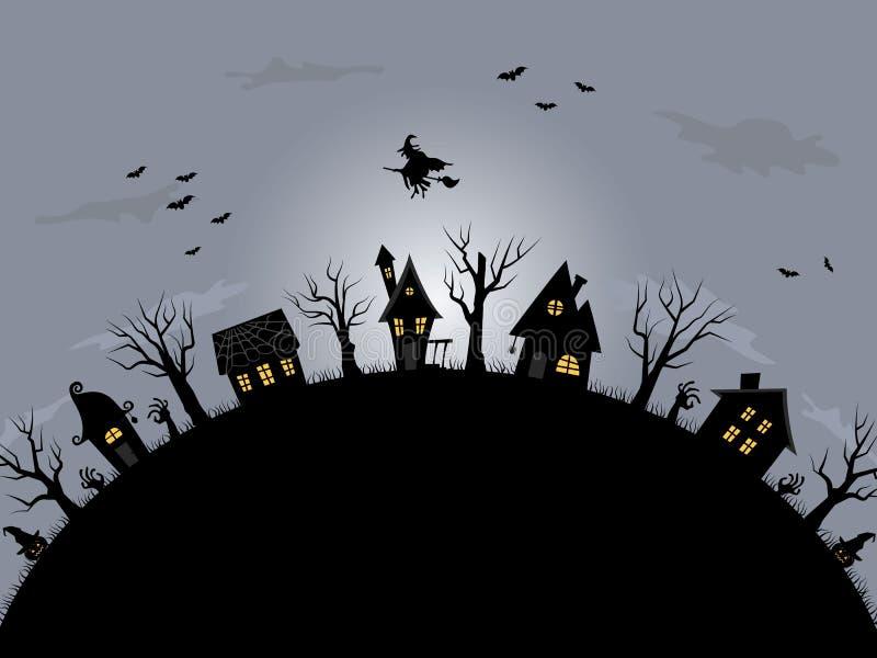 Musique de nuit Village fantasmagorique illustration stock