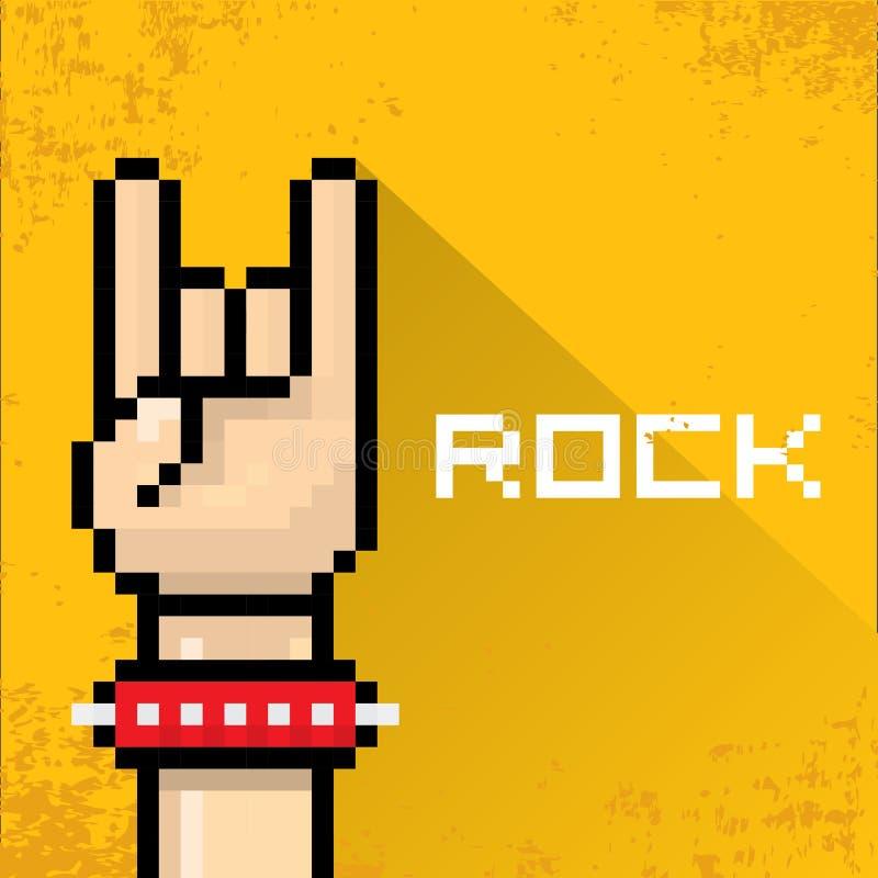 Musique de petit pain de la roche n de signe de main d'art de pixel de vecteur illustration stock