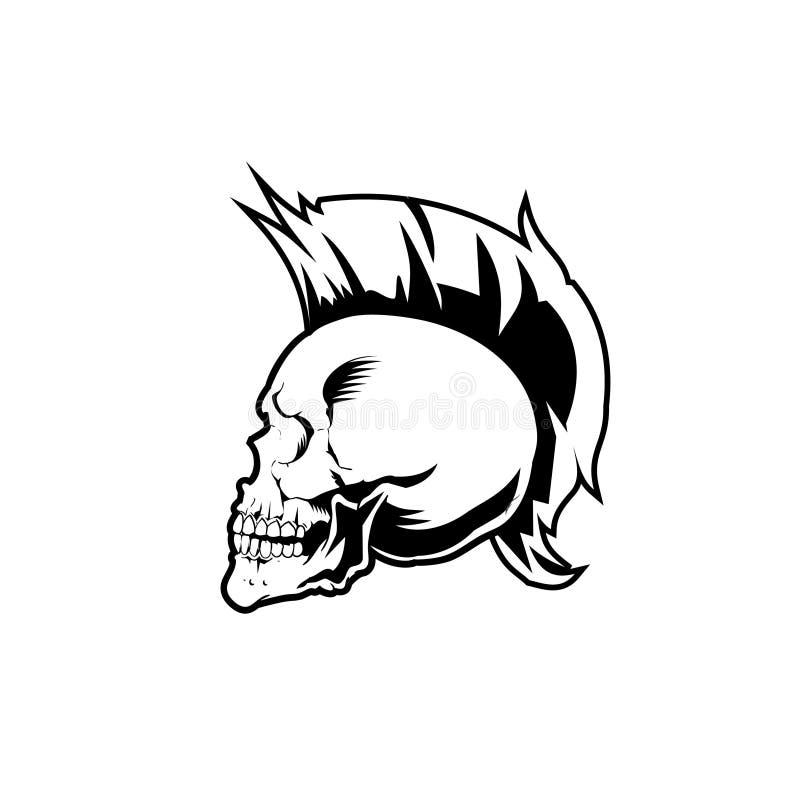 MUSIQUE DE VECTEUR DE CRÂNE NOIR ET BLANC DE PUNK ROCK ET THÈME PRINCIPAUX DE STYLE DE VIE illustration stock