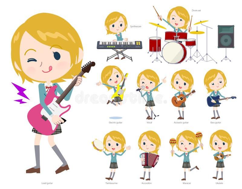 Musique de White_pop de fille d'école illustration libre de droits