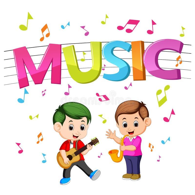 Musique de Word avec des enfants jouant la guitare et le saxophone illustration de vecteur