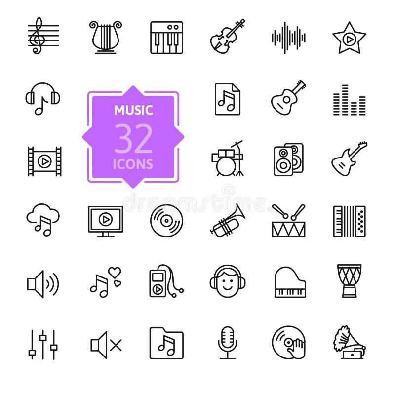 Musique, ensemble d'icône d'instruments de musique Illustration de vecteur illustration stock