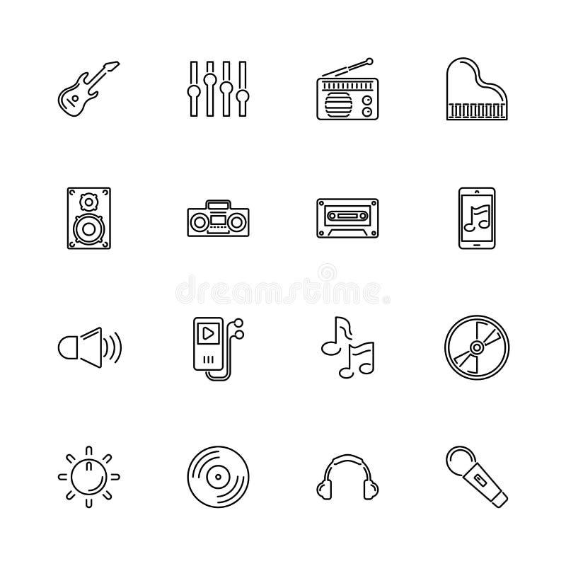 Musique et bruit - ligne plate icônes de vecteur illustration libre de droits