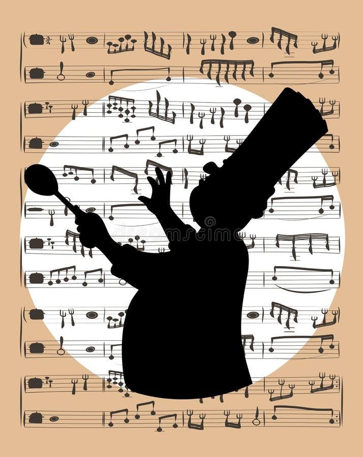 Musique et illustration de chef illustration de vecteur