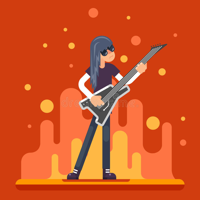 Musique folk de Hard Rock Heavy de guitariste d'icône de guitare électrique illustration de vecteur
