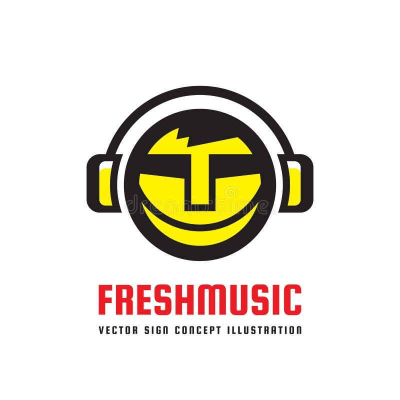 Musique fraîche - dirigez l'illustration de concept de logo dans la conception plate de style Signe mp3 audio Icône saine moderne illustration de vecteur