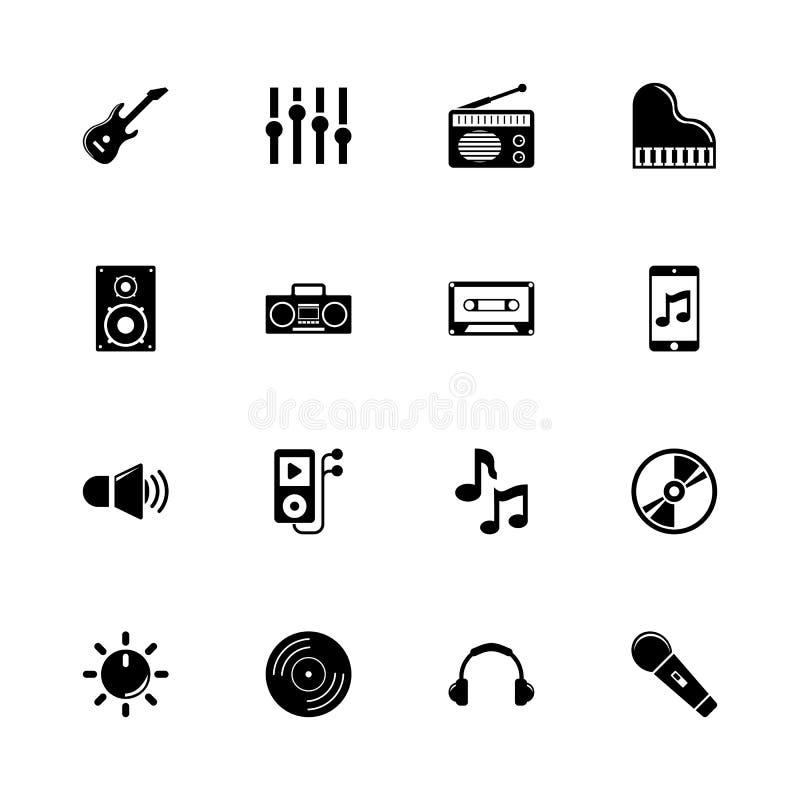 Musique - icônes plates de vecteur illustration libre de droits